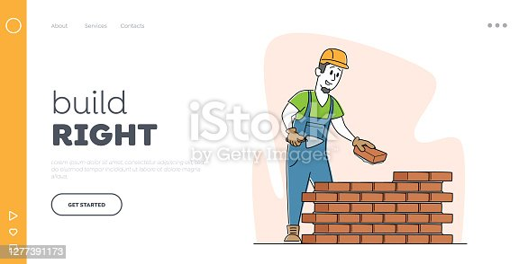 Man Engineer at Construction Site Landing Page Template. Builder in Helmet Hold Trowel Put Concrete Laying Brick Wall