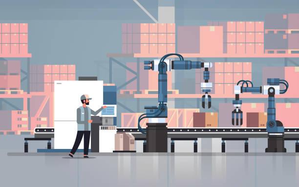 człowiek inżynier kontroli przenośnika taśmowego linii roboty ręce automatyki przemysłowej proces produkcji koncepcji magazynowe wnętrze poziome - produkować stock illustrations
