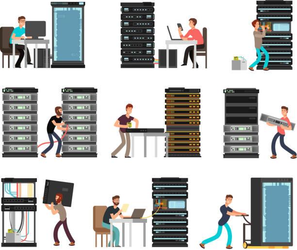 stockillustraties, clipart, cartoons en iconen met mens ingenieur, technicus werken in serverruimte. digitale computer center ondersteuning, opslag van gegevens. vector stripfiguren geïsoleerde instellen - netwerkserver