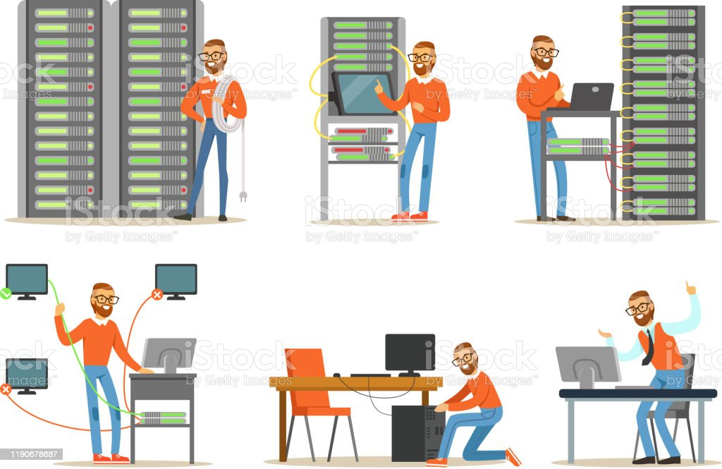 서버룸에서 일하는 남자 엔지니어. 디지털 컴퓨터 센터 및 데이터 지원 - 로열티 프리 건강 진단 벡터 아트