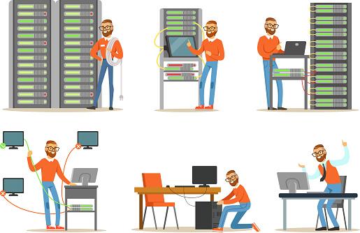 서버룸에서 일하는 남자 엔지니어 디지털 컴퓨터 센터 및 데이터 지원 건강 진단에 대한 스톡 벡터 아트 및 기타 이미지