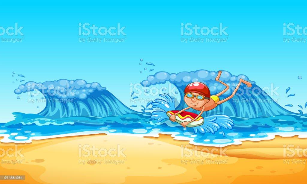 A Man Enjoy Bodyboarding at the Beach vector art illustration