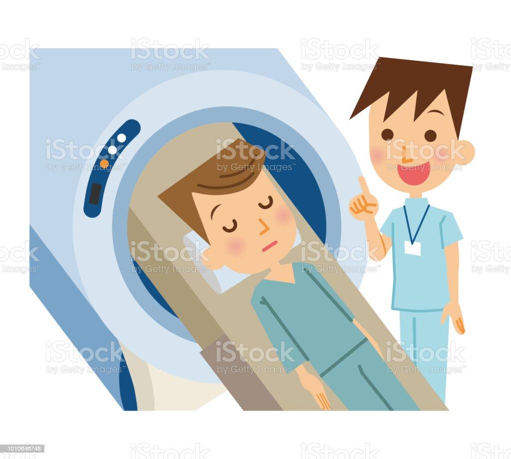A man entering MRI. vector art illustration