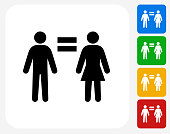 Man Equal To Woman.The icon is black and is placed on a square vector button. The button is flat white color and the background is light. The composition is simple and elegant. The vector icon is the most prominent part if this illustration. There are four alternate button variations on the right side of the image. The alternate colors are red, yellow, green and blue.
