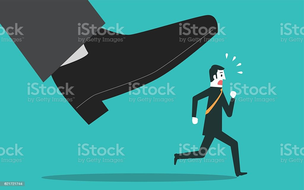 Man escapes from the big foot vector art illustration