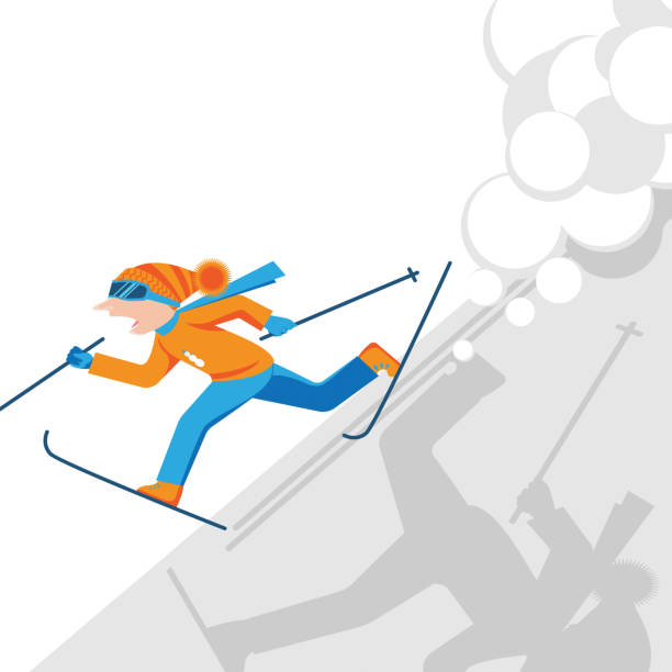 Man escaping from snow avalanche in mountains. Snowslide or snowslip Man escaping from snow avalanche in mountains. Skier with skiing equipment running from strong snowfall. Snowslide or snowslip natural disaster vector illustration. avalanche stock illustrations