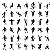 Man excercise icon set vector illustration
