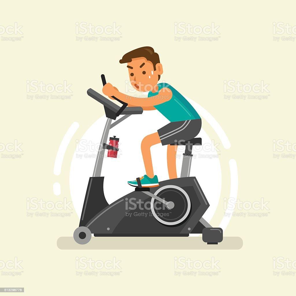 man exercising on stationary bike vector art illustration
