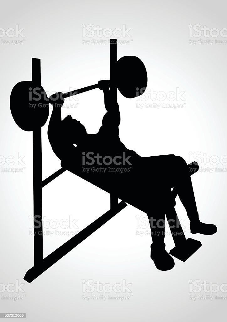 Homme Faisant De Lexercice Avec Banc De Musculation Vecteurs Libres