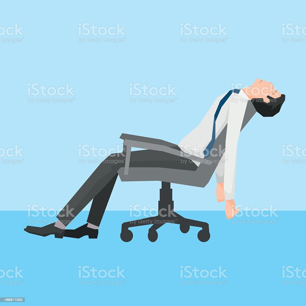 Man exhausted on a chair. vector art illustration