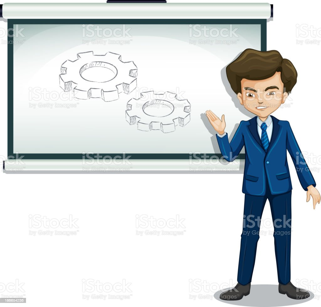 man explaining the image in whiteboard royalty-free stock vector art