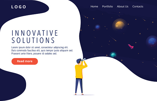 Man exploring space. Vector illustration flat design. Use in Web Project and Applications. Landing page concept