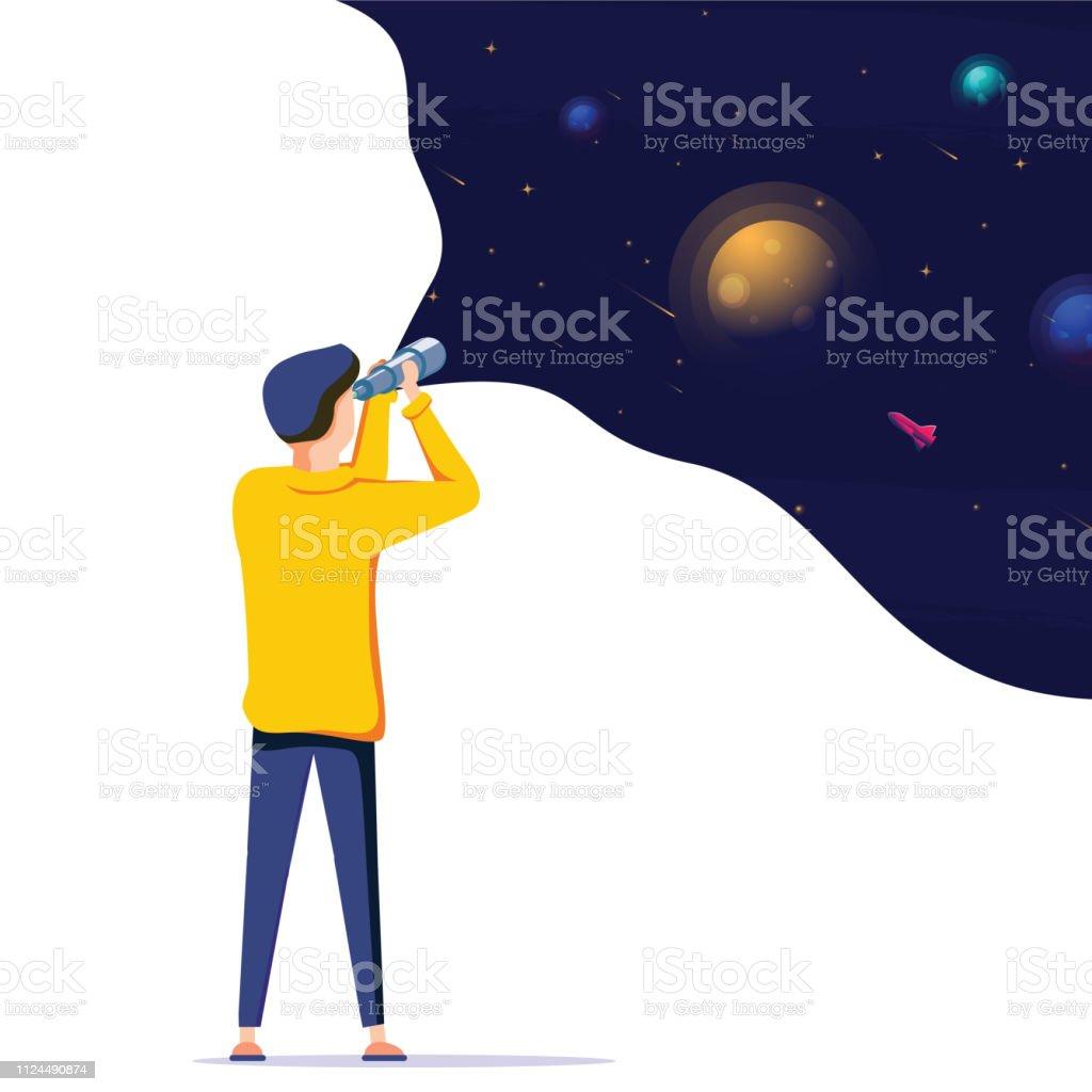 Man ruimte verkennen. Vector illustratie platte ontwerp. Gebruik in webproject en toepassingen. Landing pagina concept - Royalty-free Als in een droom vectorkunst