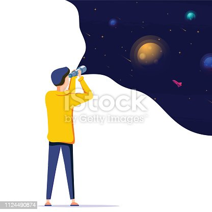 Man exploring space. Vector illustration flat design. Use in Web Project and Applications. Landing page concept for innovative solution search. Innovation, research, business vector illustration.