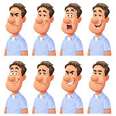 Vector illustration of a young man with eight different facial expressions: smiling, smirking, laughing, neutral, anxious/sad, angry, screaming and surprised. Portraits perfectly match each other and can be easily used for facial animation by simply putting them in layers on top of each other.