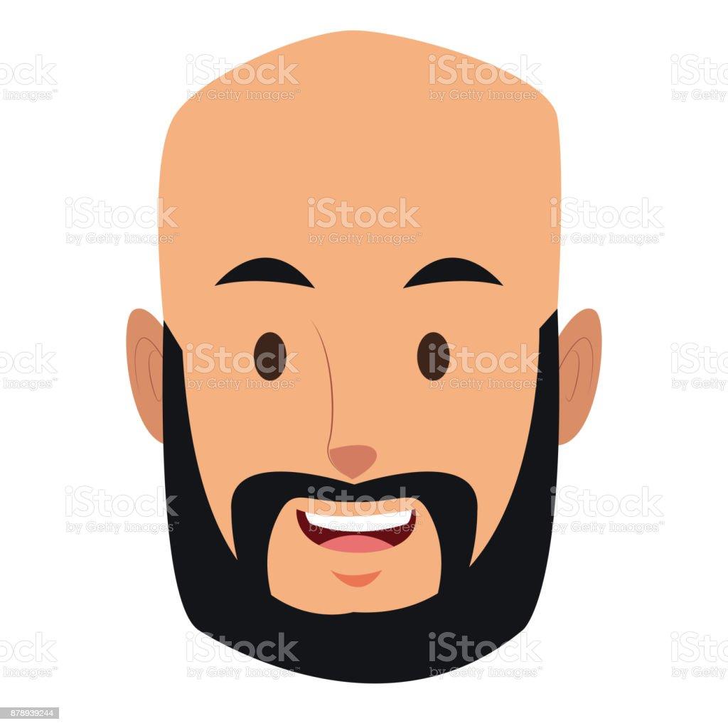 Man face cartoon vector art illustration