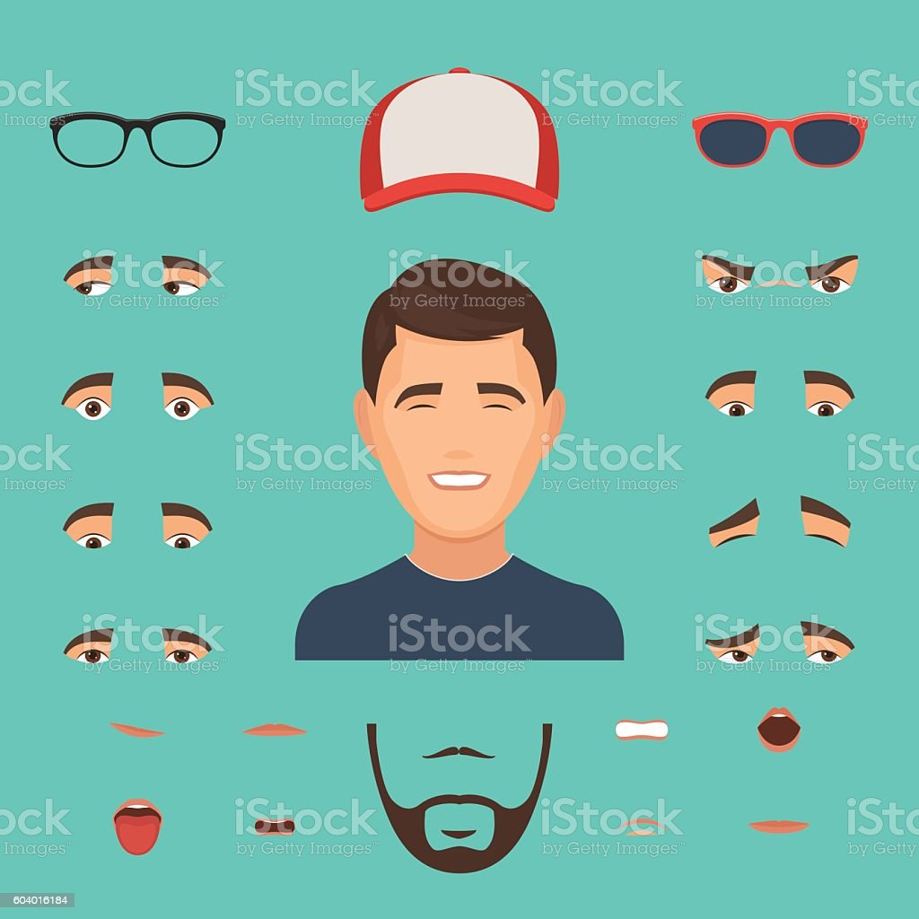 Man face emotions constructor vector art illustration