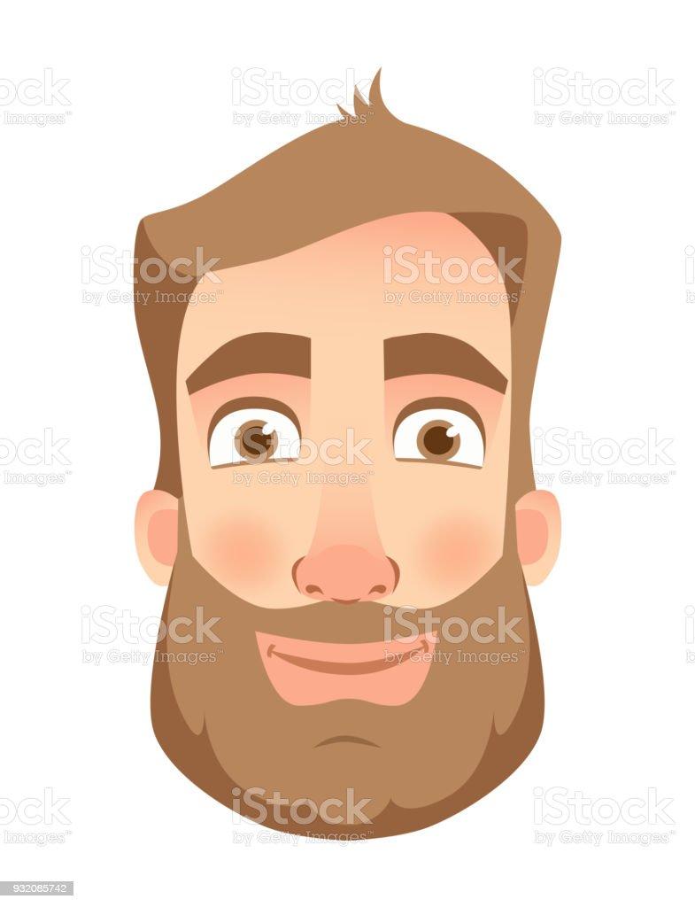 男の表情人間の感情漫画のベクトル イラストのセットです笑顔 あごヒゲ