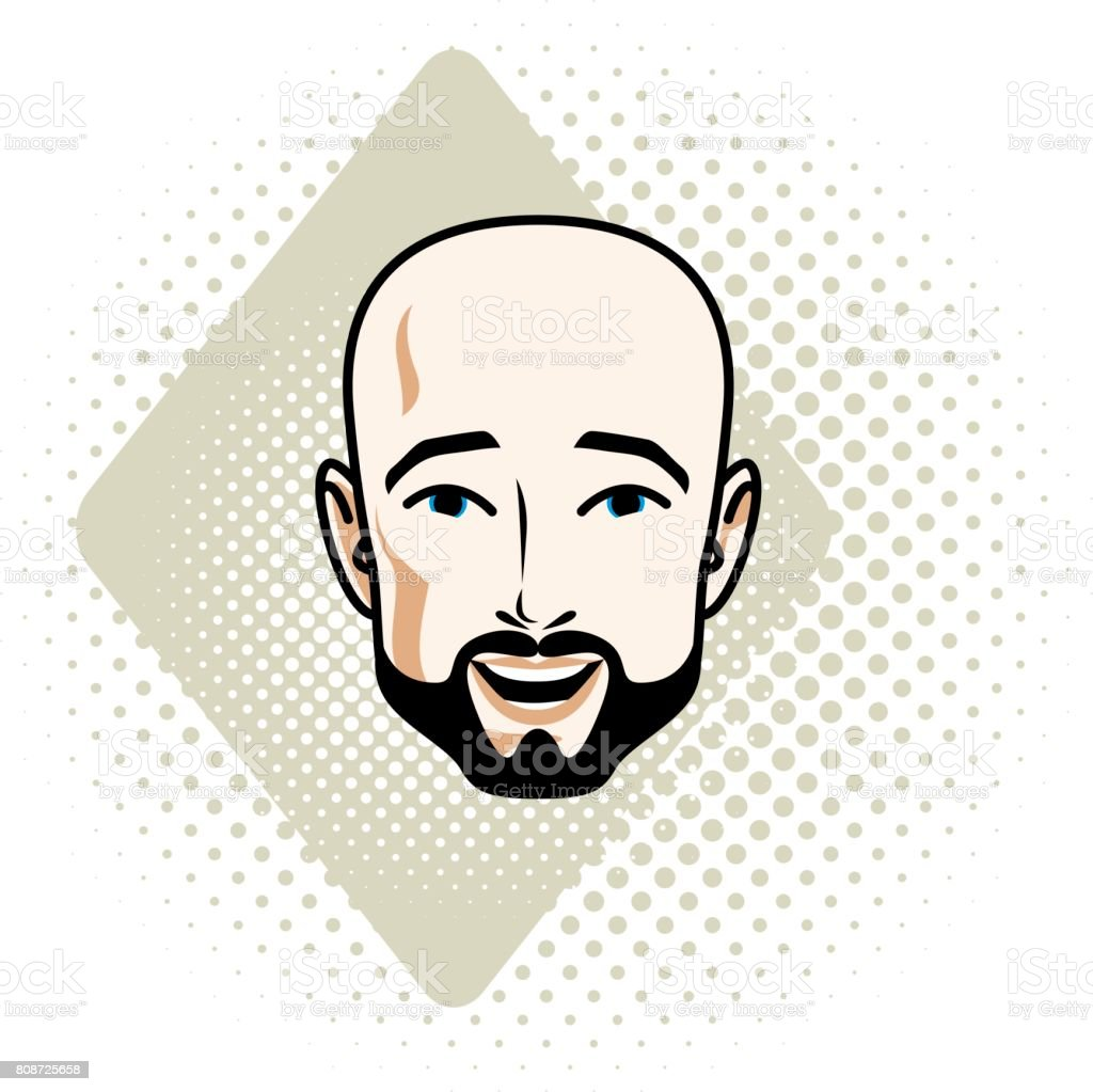 Man face, human head. Vector character wearing whiskers and beard, handsome bald male. vector art illustration