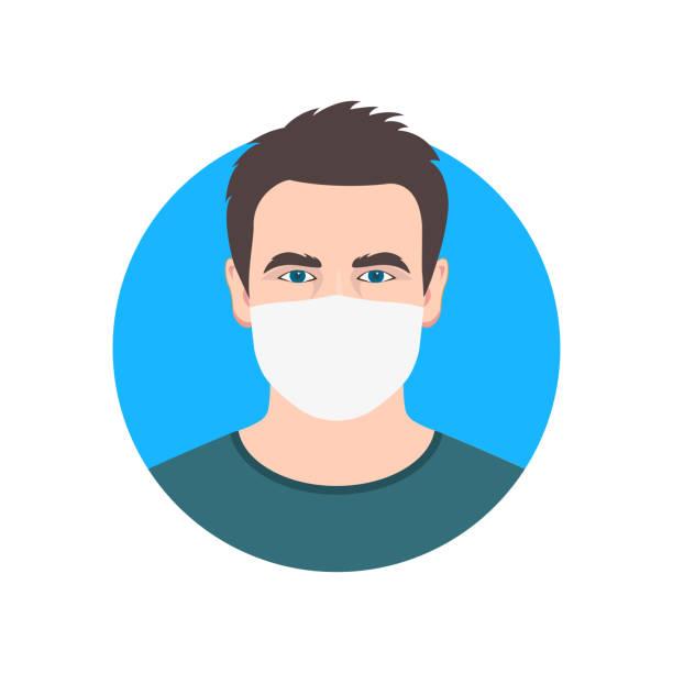 ilustrações de stock, clip art, desenhos animados e ícones de man face icon in medical mask. male person in surgical mask. people avatar design. vector illustration. - covid hair