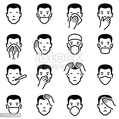 Man face with illness disease and flu medical healthcare emoticons icon collection - vector outline illustration