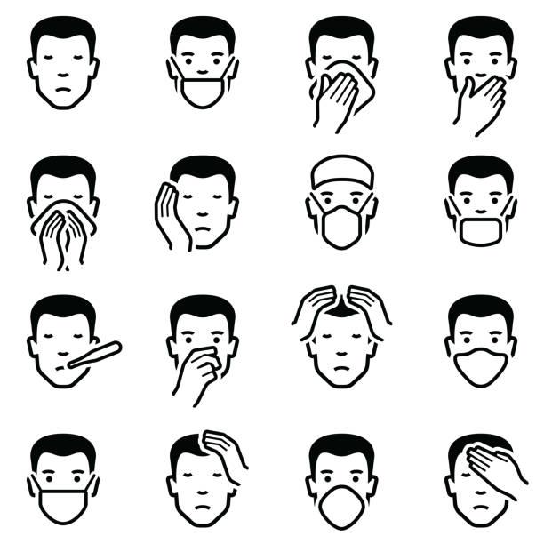 człowiek twarz choroby i emotikony grypy - ludzkie części ciała stock illustrations
