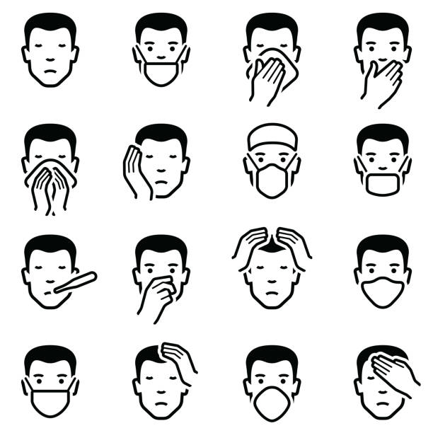 Man face illness disease and flu emoticons Man face with illness disease and flu medical healthcare emoticons icon collection - vector outline illustration human face stock illustrations
