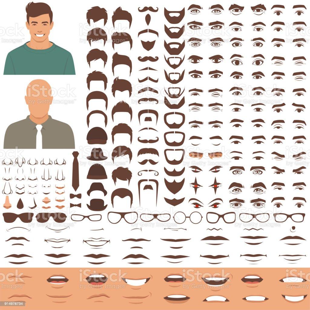 man face parts, character head, eyes, mouth, lips, hair and eyebrow icon set - Grafika wektorowa royalty-free (Awatar)