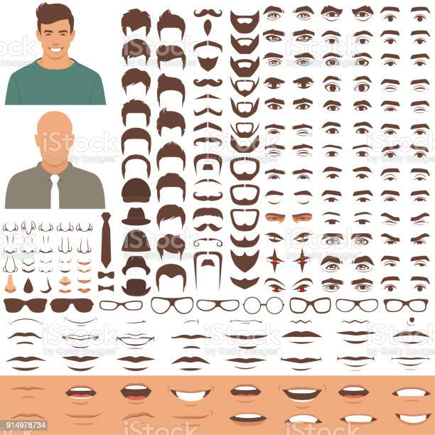 Man face parts character head eyes mouth lips hair and eyebrow icon vector id914978734?b=1&k=6&m=914978734&s=612x612&h=4 fevcmtq2sftvs4lytkdskfx1pm y rssbd1ghbwek=