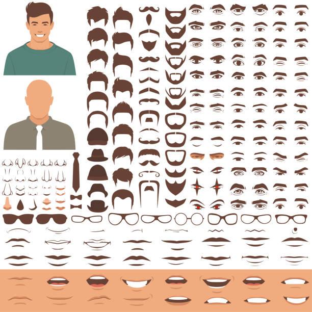 części twarzy człowieka, głowa postaci, oczy, usta, usta, zestaw ikon włosów i brwi - mężczyźni stock illustrations