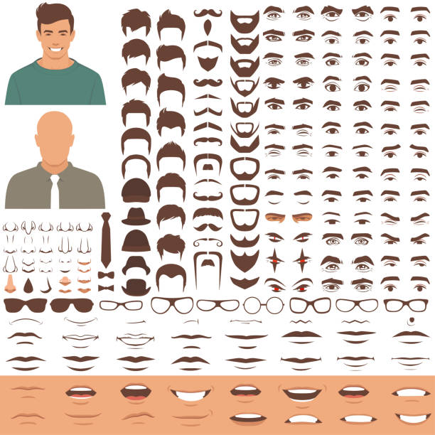 man face parts, character head, eyes, mouth, lips, hair and eyebrow icon set - okulary stock illustrations