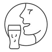 istock Man face with beer glass thin line icon, Craft beer concept, Person with mug sign on white background, Human head with beer icon in outline style for mobile concept, web design. Vector graphics. 1263829081