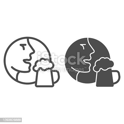istock Man face with beer mug line and solid icon, Craft beer concept, Person with glass sign on white background, Human head with beer icon in outline style for mobile concept, web design. Vector graphics. 1263826888