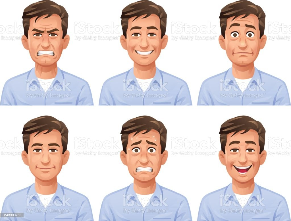 Man Facial Expressions vector art illustration