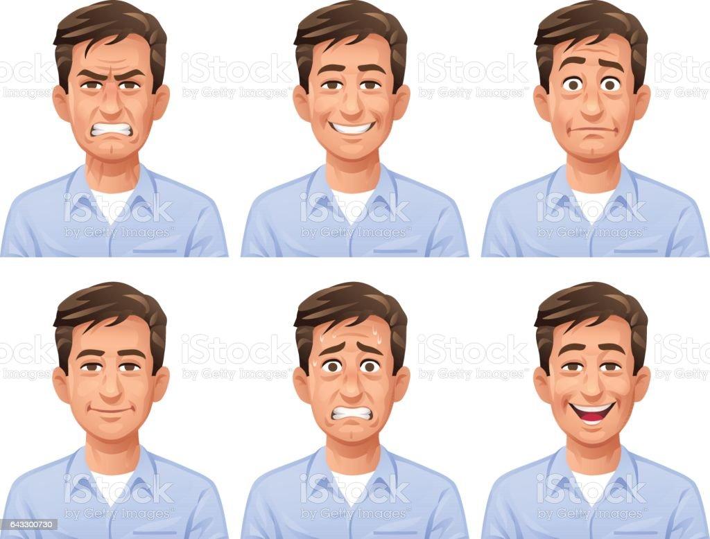 Expresiones Facial hombre - ilustración de arte vectorial