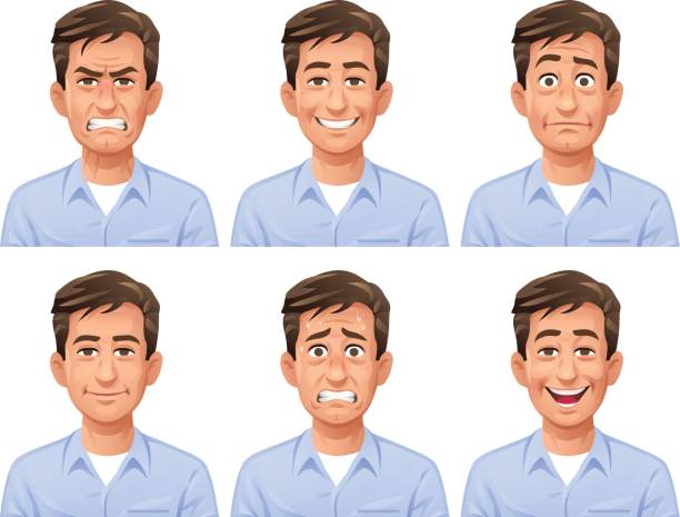 man facial expressions - head and shoulders stock illustrations, clip art, cartoons, & icons