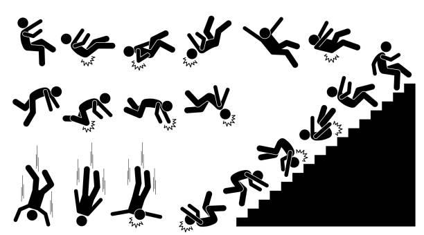 Man falling and felling down. vector art illustration