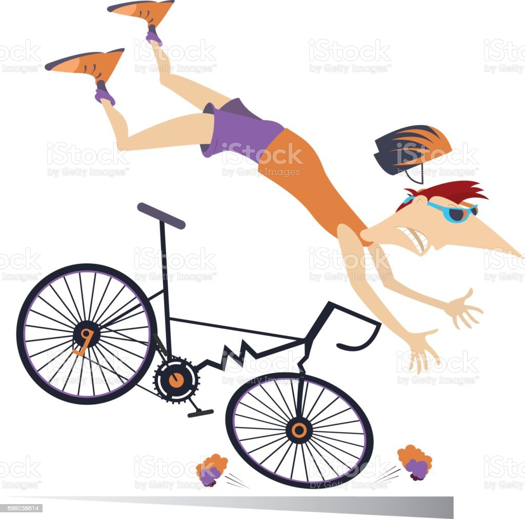 Man falling down from the bicycle isolated vector art illustration