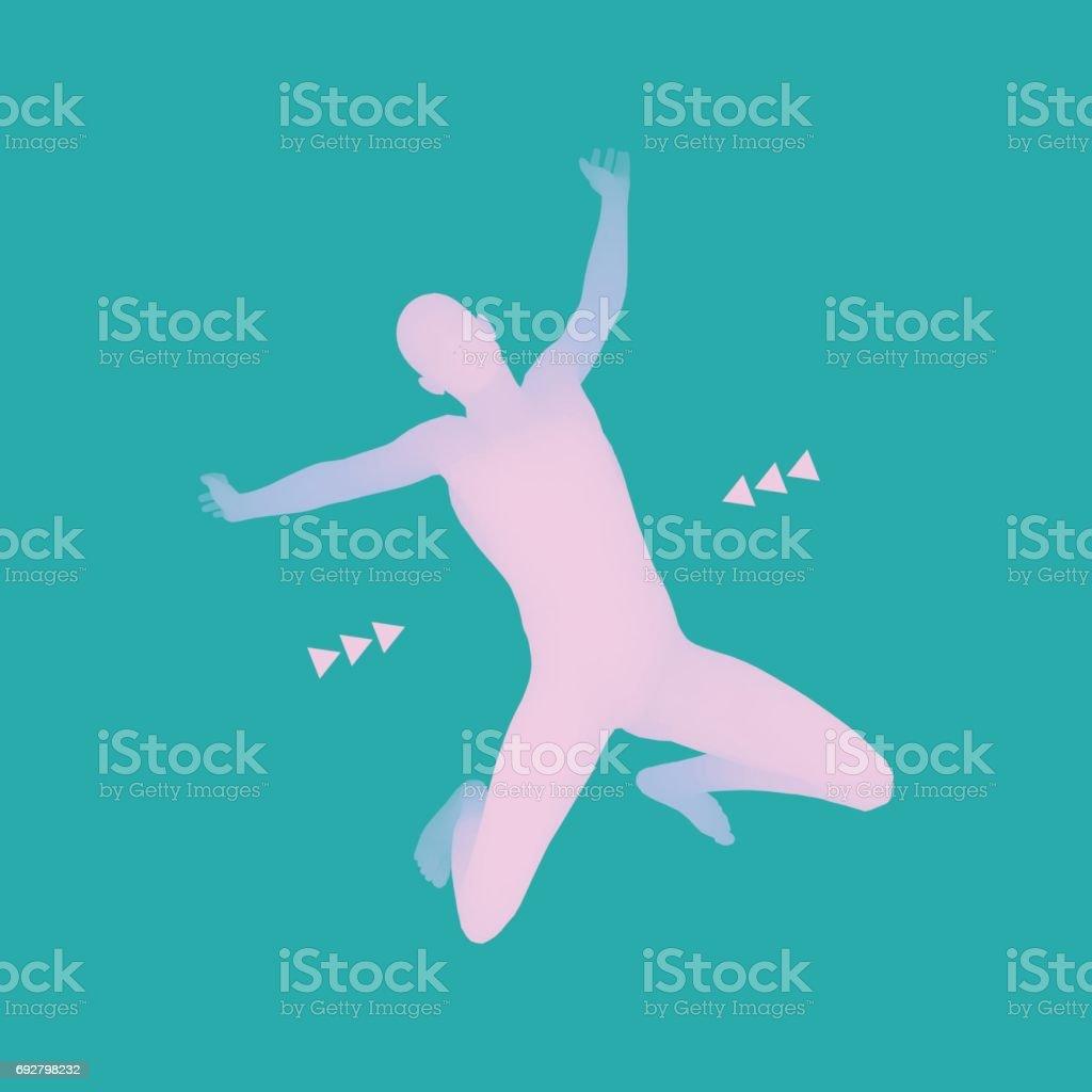 Man falling down. Jumping Man. 3D Model of Man. Human Body. Sport Symbol. Design Element. Vector. vector art illustration