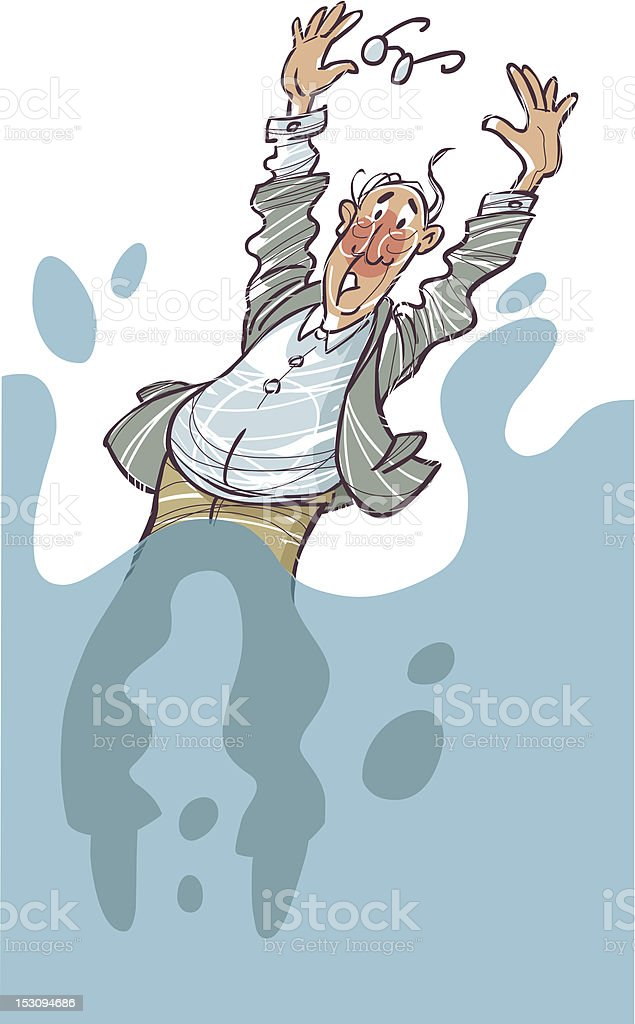 Man falling into water royalty-free stock vector art