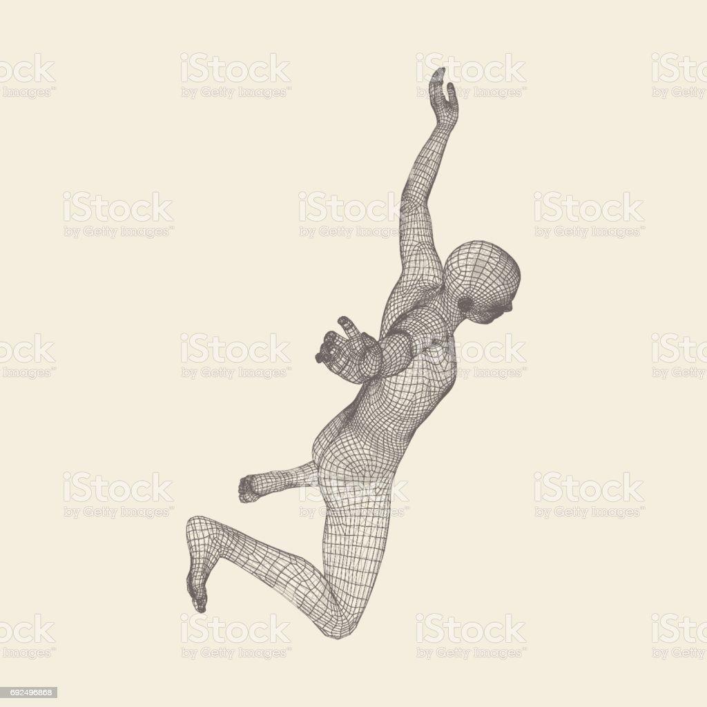 Man Falls Down from a Height. Man Fall on a Jump. 3D Model of Man. Human Body Model. Vector. vector art illustration