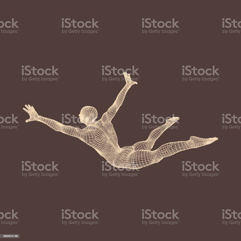 Man Falls Down from a Height. Man Fall on a Jump. 3D Model of Man. vector art illustration