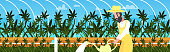 man farmer watering cannabis industrial hemp plantation growing marijuana plant drug consumption agribusiness concept horizontal portrait vector illustration