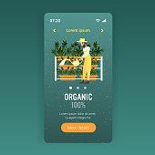 man farmer watering cannabis industrial hemp plantation growing marijuana plant drug consumption agribusiness concept smartphone screen mobile app full length copy space vector illustration