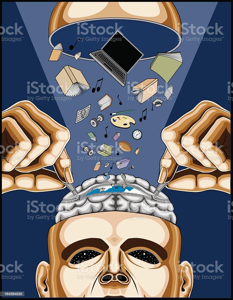 Man Feeding His Zippered Brain royalty-free stock vector art