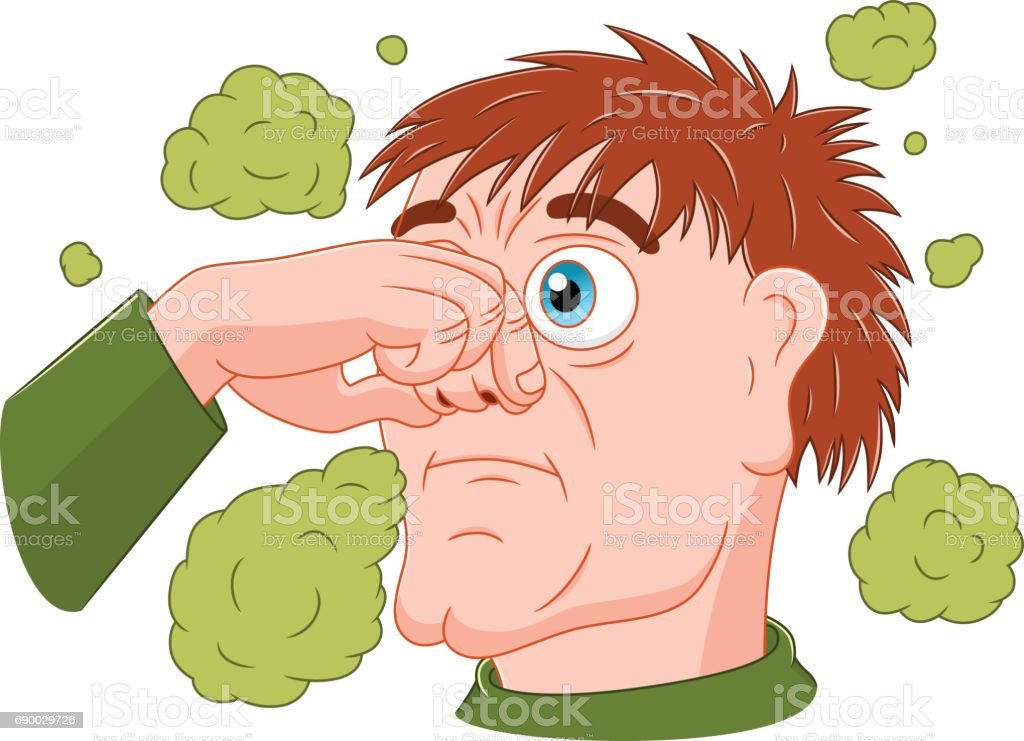 Man feeling bad smell vector art illustration