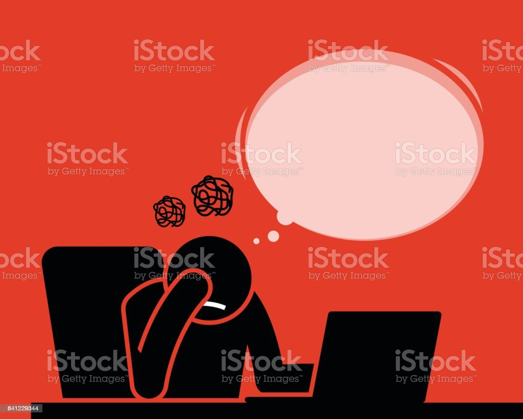 Man feeling fed up and disappointed after seeing and reading news, article, and result from the computer with Internet. vector art illustration