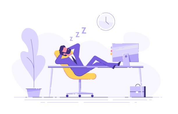 남자는 사무실에서 테이블에 잠 들었다. 근무 시간 초과. 현대 벡터 일러스트입니다. - 단정한 사무복 stock illustrations