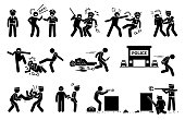 Pictogram depicts criminal threatening the law and order of justice by assaulting policeman.