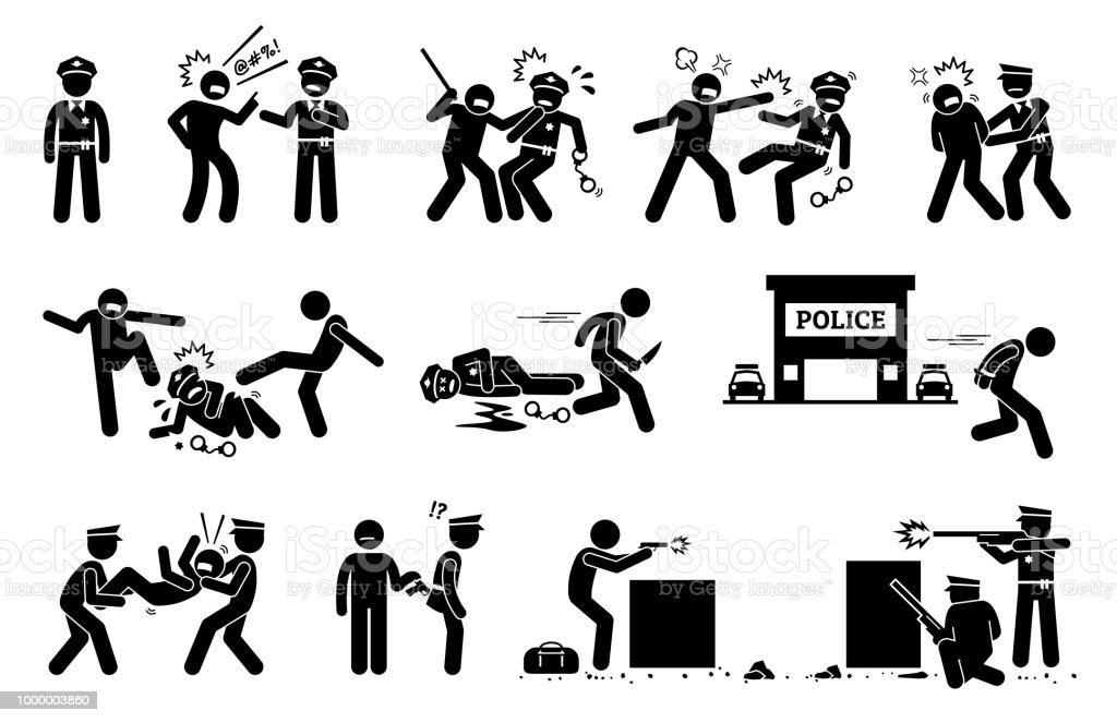 Man fighting, obstructing, and resisting police arrest. vector art illustration